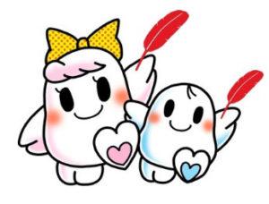 """赤い羽根共同募金シンボルキャラクター """"愛ちゃん""""と""""希望くん"""""""